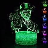 Diseño creativo Juego de luz nocturna 3D Red Dead Redemption 2 Arthur Morgan NightLight Luz LED Lámpara de proyección de luz de sueño Toque remoto 7 Cambio de color Regalos para niños