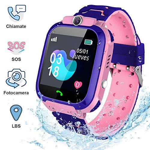 Smartwatch Bambini AIMIUVEI, IP67 con Touch-screen, Orologio Intelligente per Bambini SOS, LBS,Telefonata Bidirezionale, Videocamera Remota e Giochi Matematici, Regalo adatto a Ragazzi Ragazze(Rosa)