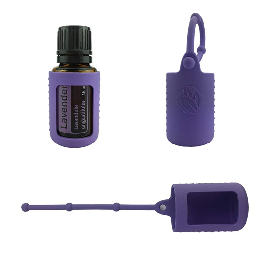 リンス酸化するスキム6パック熱望オイルボトルシリコンローラーボトルホルダースリーブエッセンシャルオイルボトル保護カバーケースハングロープ - パープル - 6-pcs 10ml