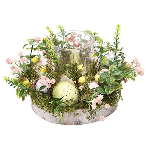Toddmomy Portavelas de Candelita de Pascua Portavelas de Cristal con Anillos de Flores Guirnalda Y Huevos de Pascua Candelabro de Escritorio Mesa de Centro de Mesa Decoración para Fiestas