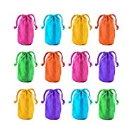 """Super Z Outlet 7"""" x 4.5"""" Neon Colored Canvas Pouch Bags Sacks with Drawstring Closure for Birthday Party Favors, Snacks, Decoration, Jewelry, Gifts, Event Supplies (12 Bags)"""