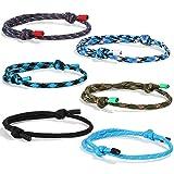 FIBO STEEL 4 Pcs Braided Nautical Bracelets for Men Handmade Navy Rope String Cool Bracelet Adjustable (B:4 Pcs a Set)