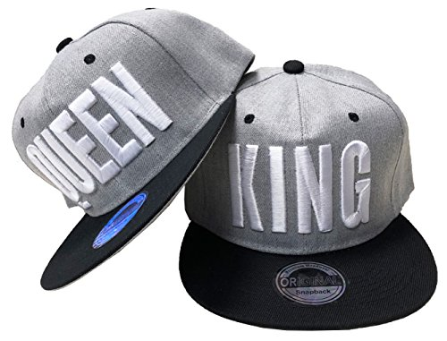 JameStyle26 King & Queen Snapback Set USA Cap Kappe Basecap Mütze Trucker Cappy Kult (King & Queen Grau Set)
