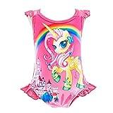 Lito Angels Traje de baño Unicornio de una pieza para niñas pequeñas, sin mangas con volantes, fiesta de verano en la playa, Talla 4 a 5 Años, Rosa Caliente