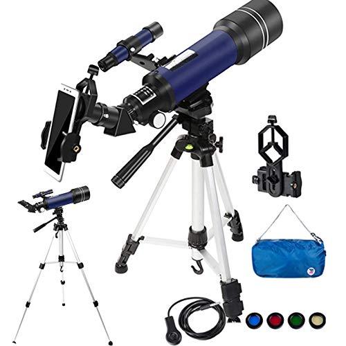 Bierglaks Telescopio para nios Adultos astronoma Principiantes 70 mm telescopio Refractor de Apertura para astronoma con trpode/Adaptador de telfono/Obturador de Alambre/Filtro Lunar/Mochila