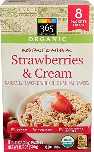 365 Everyday Value Organic, Instant Oatmeal, Strawberries and Cream, 8 ct