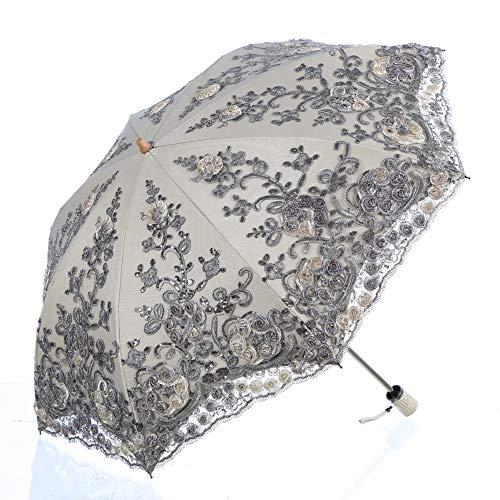 LCY, Damen Spitze Sonnenschirm Hochzeitsschirm Anti-UV Taschenschirm Grau grau