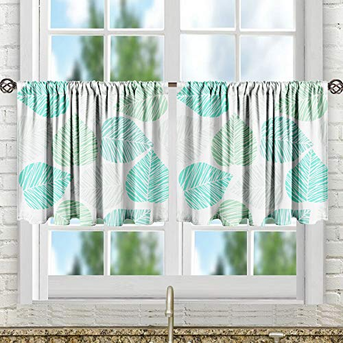 "LEMOISTARS Kitchen Tier Curtains Print Half Window Kitchen Cafe Bathroom Curtains Rod Pocket Small Short Curtain, 27"" W x 24"" L, 2 Panels"