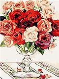 Diamond Painting Kit para Adultos Flor rosa roja rosa Kit de pintura de diamantes 5D,5D diamond painting Usado para artísticos,decoración de la pared,30x40cm(Sin marco)