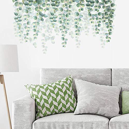 decalmile Pegatinas de Pared Hojas de Eucalipto Verde Vinilos Decorativos Plantas de Vid Colgantes Adhesivos Pared Salón Dormitorio Oficina (W: 100 cm)