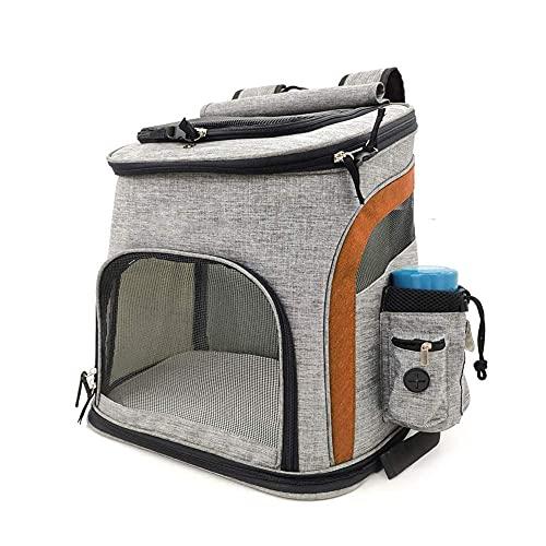 XJZKA Zaini per Cani Traspiranti, Borsa da Trasporto Pieghevole per Cani e Gatti per la Campagna escursionistica Uso Quotidiano (Colore : Grigio + Arancione, Taglia : M (bis 7,5 kg))