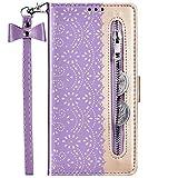 QPOLLY Kompatibel mit iPhone 7 Plus/8 Plus Hülle 3D Blumen Muster Flip Case Brieftasche PU Leder Handytasche Magnetisch Schutzhülle Geldbörse Folio Ledertasche mit Standfunktion,Lila