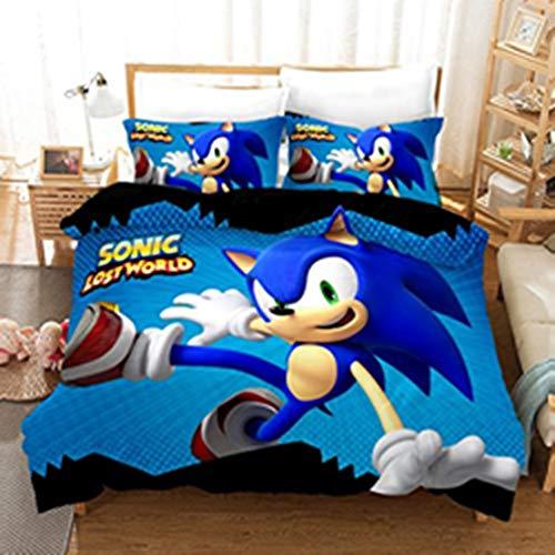 BLSM-Sonic Anime Kinderbettwäsche Set - Bettbezug und Kissenbezug, Mikrofaser, 3D Digitaldruck 3-teiliges Bettwäscheset (A04,135x200cm)