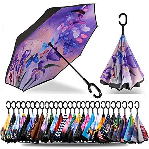 Siepasa Reverse Umbrella, Umbrella Windproof, Inverted Umbrella, Umbrellas for Women, Upside Down Umbrella(Blue Butterfly)