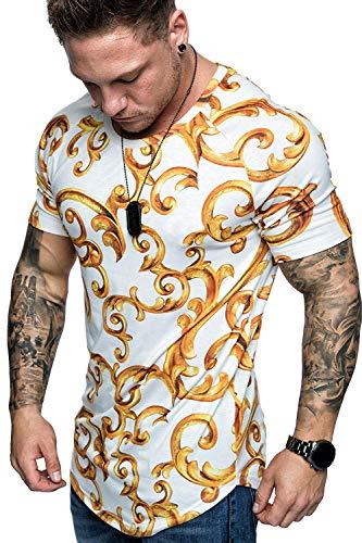PIZOFF Men's Hipster Hip Hop Golden Floral Print Tee Compression Muscle Longline Crewneck T-Shirt AU0006-White-M