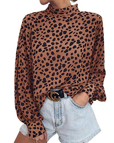Valphsio Womens Long Sleeve Turtleneck Blouse Leopard Print Loose Nightout Shirt Tops Brown