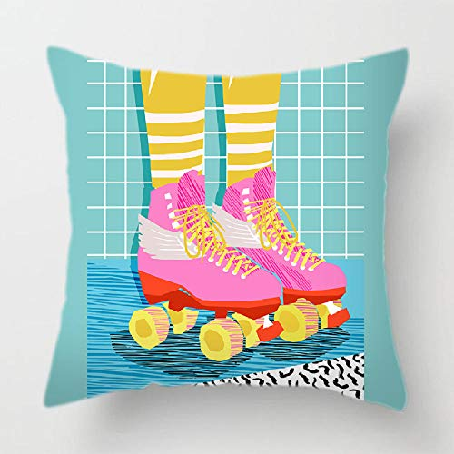 YIBINGLI Fashion Shoes Girl Colorful Funny Body Anime Pillow Case Cover for Sofa 50×50cm with pillow core