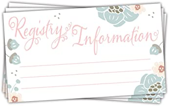 50 Charming Floral Baby Shower Registry Cards - Invitation Inserts