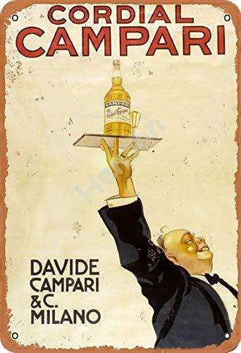 Cordial Campari Davide Campari Milano Jahrgang Blechschild Kunst Eisenmalerei rostig Poster Dekoration Aluminium Plakette Zum Hotel Café Schule Büro Garage