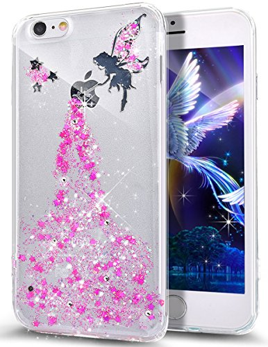 Cover iPhone SE,Cover iPhone 5S,Cover iPhone 5,Bling scintillio della scintilla Stelle della ragazza Angelo Trasparente Silicone Gel Case Cover Crystal Clear Custodia Cover per iPhone SE/5S/5,Rosa