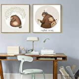 N / A Mural Cute Bear Musician Animal Canvas Painting Children's Room Bath Gift Decoration Painting Frameless 20x20cm
