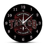 GAVA Reloj de cocina Tatuaje Nombre Personalizado Moderno Negro Reloj de Pared Tatuaje Cuerpo Humano Parte Vintage Decorativo Reloj Pared Tiempo Arte Decoración