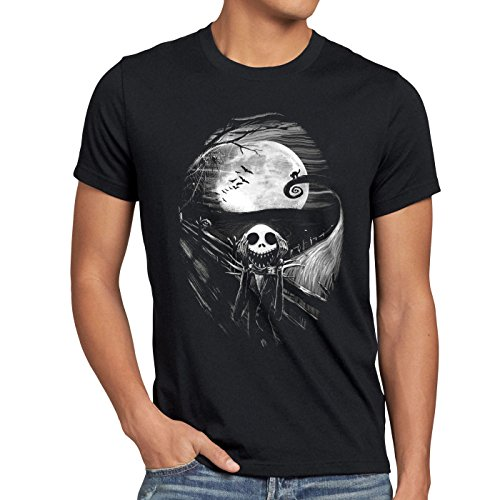 style3 Munch Nightmare T-Shirt da Uomo Jack Skellington Urlo Christmas Before Natale Edward, Dimensione:XL