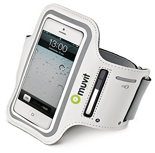 Muvit Sportsarmband iPhone 5 - Funda para móvil Apple iPhone 5, color blanco