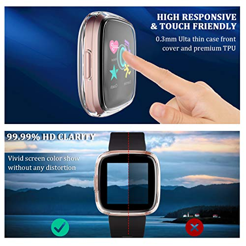 Maledan Ultra Thin Screen Protector Case Compatible with Fitbit Versa 2, 3 Pack TPU HD Full Protective Case Cover Scratch Resistant Shock Absorbing for Versa 2 Smartwatch Bands Accessories