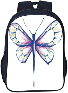 Dragonfly Durable Double black backpack,Single Dragonfly Featured in Soft Color Fast Long Bodied Predatory Insect Theme For classroom,11.8″L x 6.2″W x 15.7″H