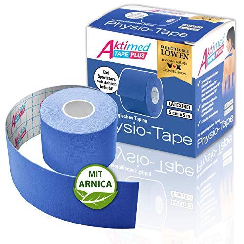 """AKTIMED Tape PLUS Kinesiologie Tape – Sporttape mit pflanzlichem Extrakt Arnica D6* – patentiertes Physiotape Dermatest """"sehr gut"""" – Kinesiologie Tapes elastisch & wasserfest (blau)"""