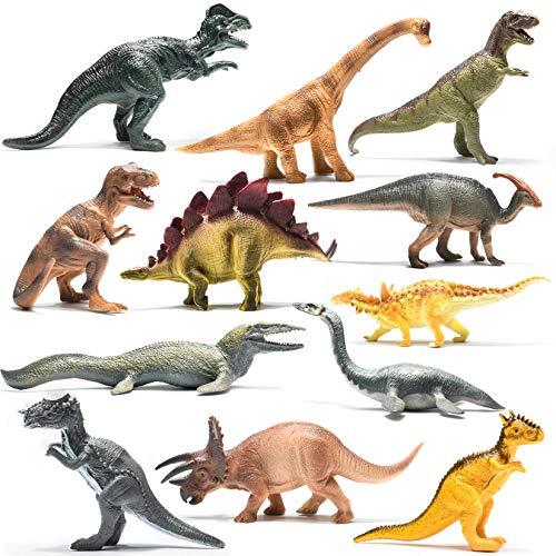 Prextex Dinosauri 25,4 cm Aspetto Realistico Confezione da 12 Dinosauri in Plastica Grandi Assortiti