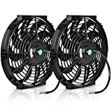 AUTOSAVER88 (Pack of 2) 10' Universal Radiator Cooling Fans 12V 80W Slim Fan Push Pull Electric Engine Fan with Mount Kit(Diameter 10.75' Depth 2.56')