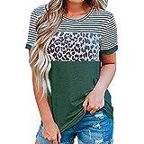 Mujeres Europeas Y Americanas Primavera Y Verano Nueva Amazon Cuello Redondo Rayas Estampado De Leopardo Contraste Camiseta De Manga Corta Mujer