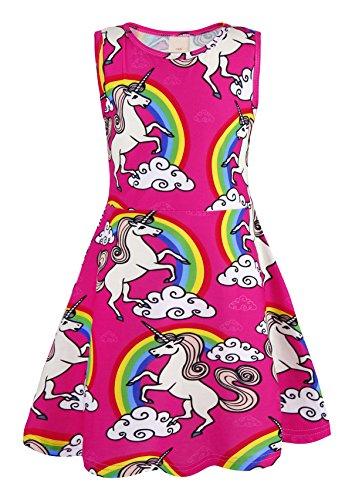 AmzBarley Eenhoorn/Dinosaurus/Zeemeermin partij aankleden kostuum voor kinderen meisjes Verjaardag Vakantie Cartoon Dieren Outfit Kinden Zonnejurk kleding Playwear