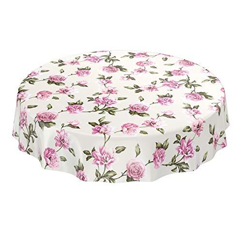 ANRO Wachstuch Tischdecke abwaschbar Wachstuchtischdecke Wachstischdecke Blumen Rosa/Lila Textiloptik Rund 140cm