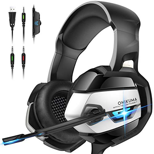 ONIKUMA PS4 Headset -Xbox One Headset Gaming Headset Noise Canceling Gaming Headphones with Mic & LED Light for PS4,PS2,PC,Xbox One(Adapter Not Included)