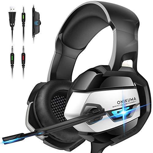 ONIKUMA Casque Gaming, Casque PS4 Xbox One PC Casque Gamer Son 7.1 Surround + Isolation + Fortes Basses, Microphone Anti Bruit Casque Stéréo pour Jeux vidéo LED Lumière (Casque Gaming- Black)
