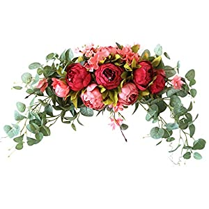 Aojie Artificial Peony Flower Swag,Front Door Wreaths Hanging Wreath Decorative Swag with Peony,Green Leaves,Farmhouse Floral Garland for Wedding Arch Front Door Wall Decor