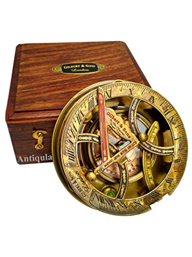 """Steampunk Antique Look Vintage Time Keeping Solar 5"""" Sundial Compass with Wooden Box and Chart"""