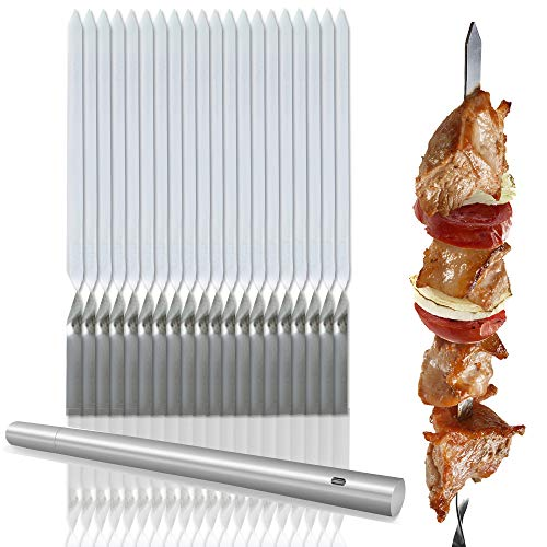Bramble 20 Pinchos, brochetas de Kebab de Acero Inoxidable. Perfectos para Barbacoa...
