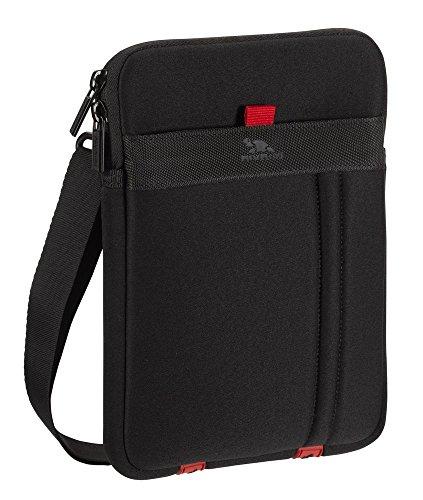 RivaCase Schutz Tasche Hülle Cover Etui + Außenfach für Zubehör + Schultergurt in Schwarz für Hanvon HPad A112