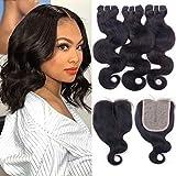 Brazilian Body Wave Hair Bundles with T Part Closure 9A Unprocessed Human Hair Bundles 3 with Closure (10/12/14+10;70g/Bundle) Body Wave Hair 4X1 Hand-Tied Lace Closure with Bundles Virgin Hair