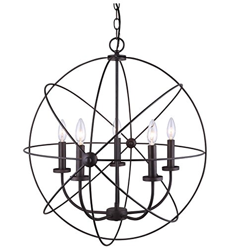 Canarm ICH282B05ORB25 Sumerside 5 Light Chandelier, Oil Rubbed Bronze