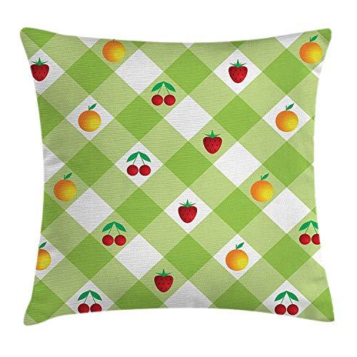 Butlerame Funda de Almohada a Cuadros, Tema de Verano de Frutas maduras Frescas con Naranjas Cereza Fresa, 45 x 45 cm, Verde Pistacho, Rojo y Naranja