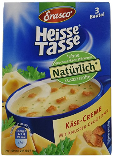 Erasco Heisse Tasse Käse-Creme mit Croûtons, 12er Pack (12 x 450 ml Beutel)