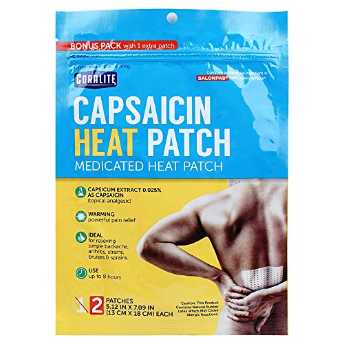 Coralite Capsaicin Patch –Pain Relieving Patch for Muscle Pain Relief, Back Pain, Muscle Soreness and Joint Pain for Larger Areas, 2 Patches Per Pack (24 Pack)