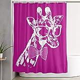 PKLUAS Creative Durable Waterproof Fabric Polyester Giraffe Hahnentritt-Duschvorhänge Print Dekorative Badezimmer mit Haken 152,4 x 182,9 cm, Polyester, weiß, Einheitsgröße