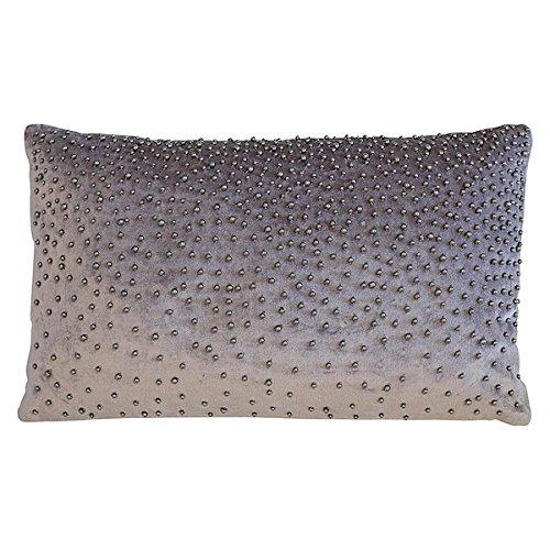 GreenGate Gate Noir - Kissen Zierkissen Kissenhülle - 30 x 50 cm - ohne Füllung - Samtikissen Sparkling mit funkelnden Perlen Bestickt