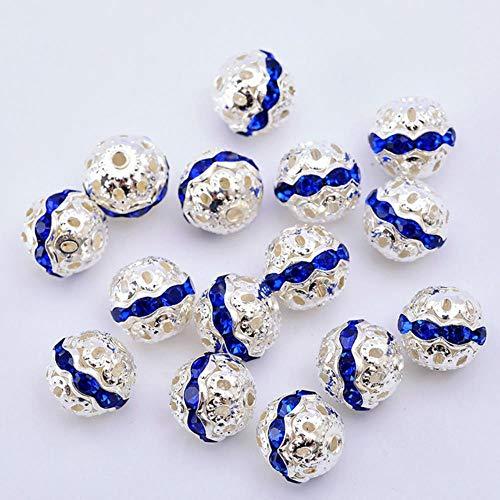 20st 6/8/10mm goud zilver metaal verguld kristal strass ronde spacer losse kralen voor ambachtelijke armband ketting sieraden maken, saffier, 20st 10mm